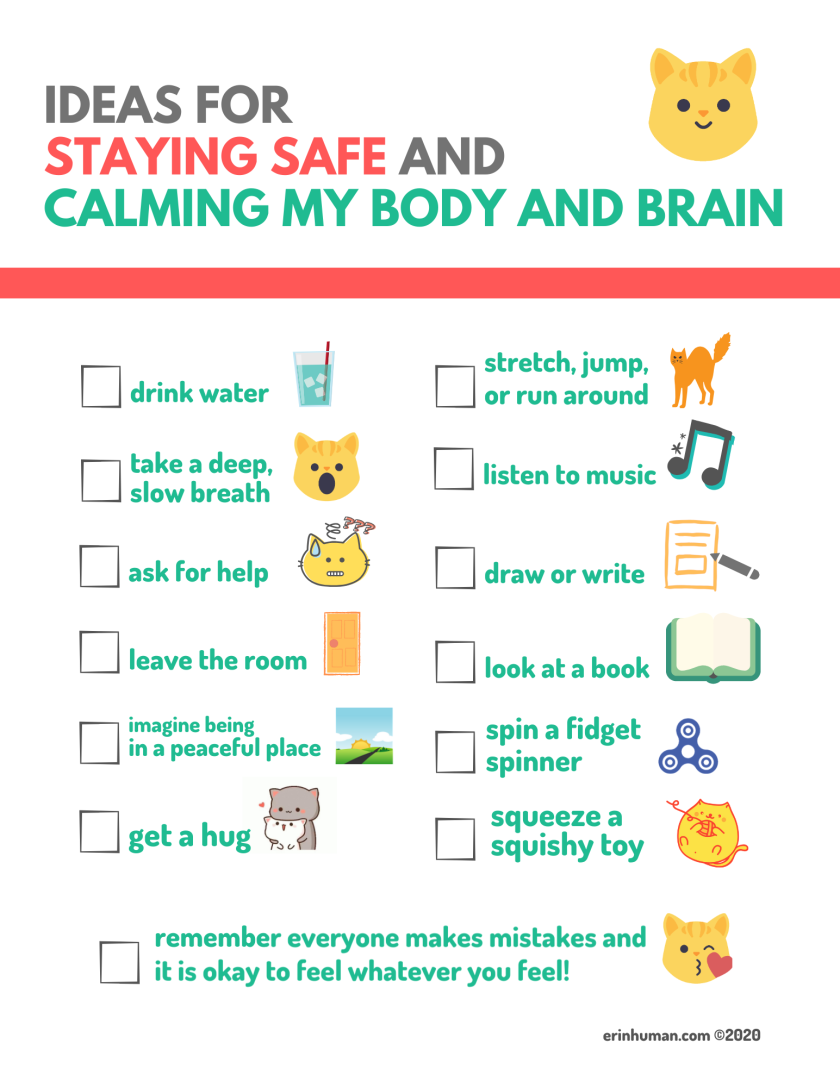 "Infographic titled ""Ideas for Staying Safe and Calming My Body and Brain."" Full image description in body of post."