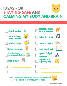 version 2 of infographic, Ideas for Safe and Calm. Full image description in body of post